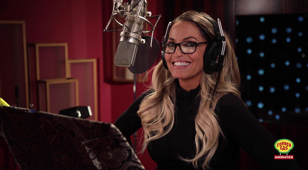 Trish Stratus records voiceover for Corner Gas Animation