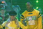 Trish Stratus and Booker T play goalkeeper